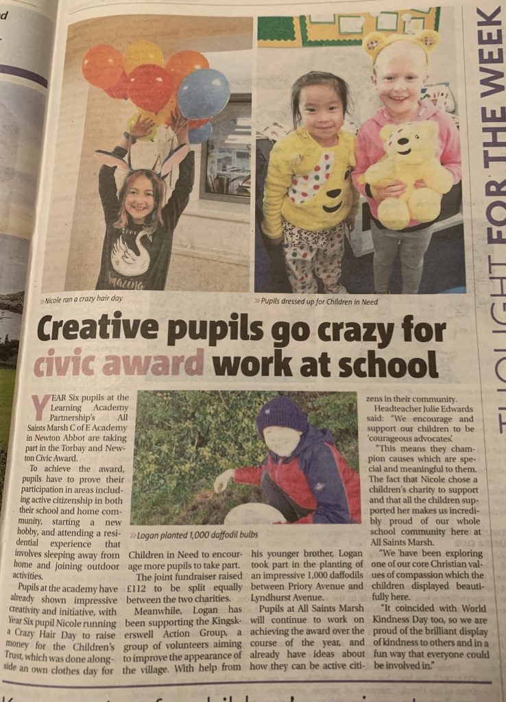 Creative Pupils go crazy for civic award work at school!